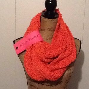 Betsey Johnson sequined coral infinity scarf NEW